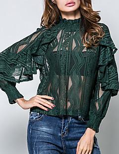 Damen Solide Jacquard Sexy Retro Street Schick Formal Ausgehen Arbeit Hemd,Rundhalsausschnitt Frühling Sommer Langarm Baumwolle