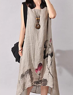 Women's Going out Beach Holiday Chinoiserie Loose Dress,Print Round Neck Asymmetrical Sleeveless Cotton Linen Spring Summer Mid Rise