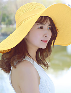 Χαμηλού Κόστους Breezy & Chic Straw Hats-Γυναικεία Μονόχρωμο, Καθημερινό Καπέλο ηλίου