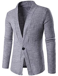 tanie Męskie swetry i swetry rozpinane-Męskie Futro z królika Kołnierzyk koszuli Rozpinany Jendolity kolor