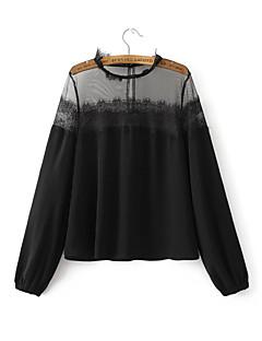 billige Bluse-Dame - Ensfarvet Bluse Polyester