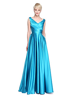 cheap Long Bridesmaid Dresses-A-Line V Neck Floor Length Satin Bridesmaid Dress with Pocket Pleats Criss Cross by LAN TING BRIDE®