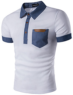 Men's Daily Sports Work Casual Active Summer Polo,Striped Color Block Shirt Collar Short Sleeves Cotton Rayon Thin