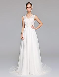 billiga Brudklänningar-A-linje V-hals Hovsläp Chiffong / Spetslivstycke Bröllopsklänningar tillverkade med Applikationsbroderi av LAN TING BRIDE® / Genomskinliga