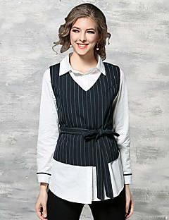 Bomull Tynn Langermet,Skjortekrage Skjorte Trykt mønster Vår Sommer Chinoiserie Fritid/hverdag Arbeid Dame