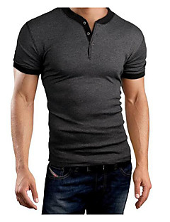 Men's Sports Casual/Daily Simple T-shirt,Solid Round Neck Short Sleeves Cotton
