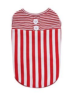 billiga Hundkläder-Hund T-shirt Väst Hundkläder Rand Svart Röd Cotton Kostym För husdjur Herr Dam Fest Ledigt/vardag Semester Födelsedag Mode Sport