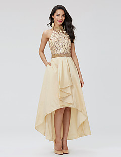 A-Line Halter Asymmetrical Taffeta Sequined Prom Holiday Dress with Beading Pleats by TS Couture®