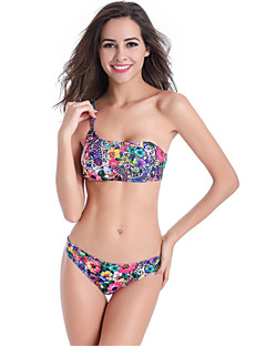 Kvinner Blomstret Bohem Bandeau Bikinikjole Nylon Spandex