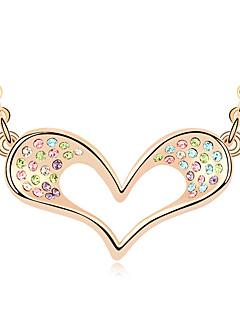 Kadın's Uçlu Kolyeler Kristal Heart Shape Aşk Mücevher Uyumluluk