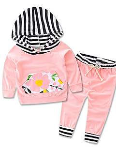 Girls Baby Sets Cotton stripe Long Sleeve Kids Hooded Clothing Leisure Time Set