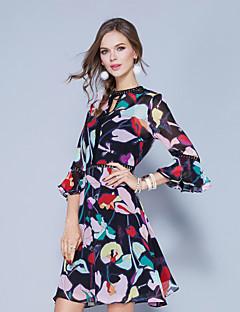 Χαμηλού Κόστους EGEER-Γυναικεία Κομψό στυλ street Flare μανίκι Θήκη Φόρεμα - Φλοράλ Ως το Γόνατο Λαιμόκοψη V