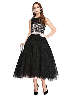 A-Line Bateau Neck Tea Length Lace Tulle Prom Formal Evening Dress with Beading Lace Pleats by TS Couture®