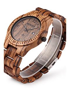 Homens Relógio de Pulso Único Criativo relógio Relógio Madeira Quartzo Quartzo Japonês Calendário Madeira Banda Luxo Marrom