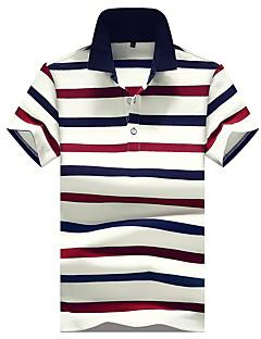 Bomull Tynn Medium Kortermet,Skjortekrage Polo Ensfarget Stripet Lapper Vår Sommer Enkel Gatemote AktivFritid/hverdag Strand