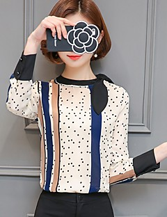 Women's Formal Casual/Daily Work Simple Street chic Blouse,Polka Dot Stand Long Sleeve Polyester