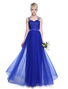 cheap Imperial Blue-A-Line Spaghetti Straps Floor Length Tulle Bridesmaid Dress with Beading Pleats by LAN TING BRIDE®