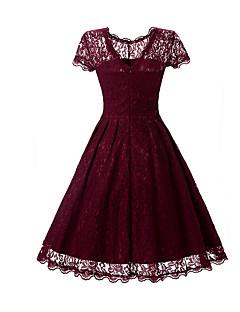 Kadın Parti Çalışma Vintage Sofistike Çan Elbise Solid,Kısa Kollu Yuvarlak Yaka Diz üstü Suni İpek Polyester Tüm Mevsimler Normal Bel