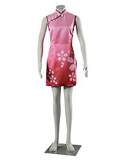 """Inspirert av Naruto Sakura Haruno Anime  """"Cosplay-kostymer"""" Cosplay Klær Kjoler Ensfarget Cheongsam Til Barn Kvinnelig"""