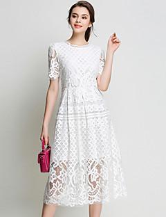 Χαμηλού Κόστους 9-5 Looks-Γυναικεία Εξόδου Κομψό στυλ street Θήκη / Δαντέλα Φόρεμα - Μονόχρωμο, Δαντέλα Μίντι