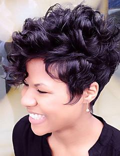 cheap Wigs & Hair Pieces-Fluffy Short Human Hair Capless Wigs Human Hair Natural Curly Pixie Cut / Layered Haircut / With Bangs African American Wig Short Machine Made / Capless Wig Women's