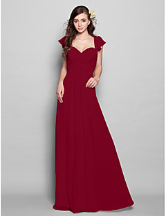 billige Romantisk rosa-A-linje Kjære Gulvlang Chiffon Brudepikekjole med Drapering / Drapert / Bølgemønster av LAN TING BRIDE®