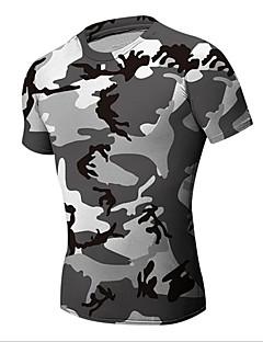 billige Løbetøj-Herre Løbe-T-shirt Kortærmet Åndbart, Bekvem, Svedreducerende T-Shirt / Toppe for Fiskeri / Træning & Fitness / Fritidssport Elastin