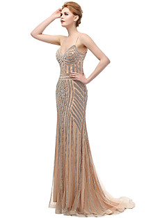 Mermaid / Trumpet Spaghetti Straps Sweep / Brush Train Tulle Formal Evening Dress with Beading by Sarahbridal