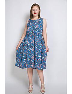 billige Damekjoler-Dame Store størrelser Løstsittende T skjorte Tunik Kjole - Blomstret