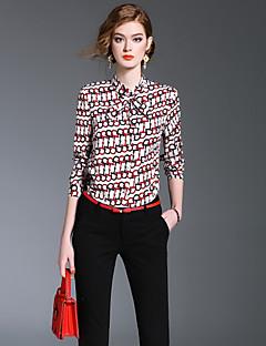 Langærmet Høj krave Medium Damer Ensfarvet Forår Efterår Simpel Sødt Gade I-byen-tøj Arbejde Strand Skjorte,Polyester