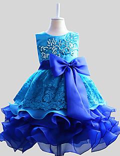 tanie Odzież dla dziewczynek-Sukienka Poliester Dziewczyny Wyjściowe Wielokolorowa Lato Bez rękawów Kokarda Niebieski Purple Fuchsia Czerwony