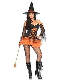 baratos -Bruxa Fantasias de Cosplay Feminino Dia Das Bruxas Carnaval Festival / Celebração Trajes da Noite das Bruxas Black/Orange Côr Sólida