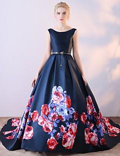 Kugle kjole scoop neck court tog satin chiffon formelle aften kjole med mønster / print