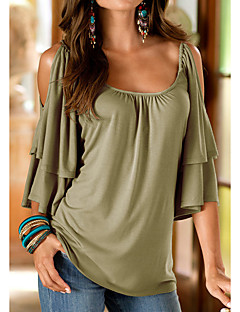 Women's Going out Casual Summer T-shirt,Solid Round Neck Polyester Medium