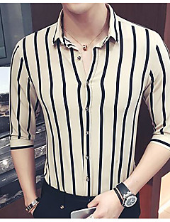 Men's Casual/Daily Simple Spring Fall Shirt,Striped Classic Collar Long Sleeves Cotton Thin