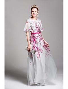 Χαμηλού Κόστους Φορέματα-Γυναικεία Flare μανίκι Swing Φόρεμα - Κέντημα, Δίχτυ Μακρύ