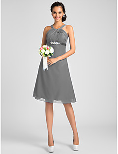 cheap Wedding Guest Dresses-A-Line Princess Jewel Neck Straps Y-Neck Knee Length Chiffon Bridesmaid Dress with Beading Sash / Ribbon Criss Cross by LAN TING BRIDE®