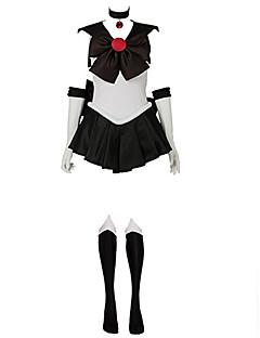 """billige Anime Kostymer-Inspirert av Sailor Moon Sailor Pluto Anime  """"Cosplay-kostymer"""" Cosplay Klær Lapper Ermeløs Kjole / Hansker / Sløyfe Til Dame Halloween-kostymer / Satin"""