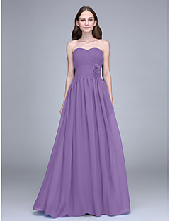 Sheath / Column Strapless Floor Length Chiffon Bridesmaid Dress with Flower(s) Criss Cross by LAN TING BRIDE®