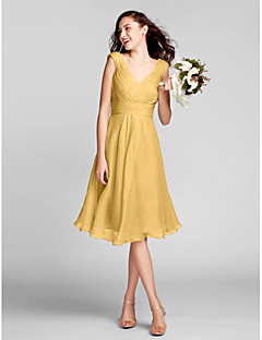 cheap Short Bridesmaid Dresses-A-Line V Neck Knee Length Chiffon Bridesmaid Dress with Draping Ruched Criss Cross by LAN TING BRIDE®