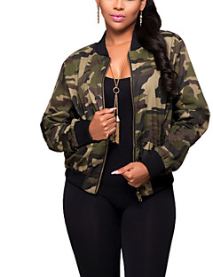 Women's Daily Sports Going out Simple Casual Active Street chic Spring Fall Jacket,Camouflage Round Neck Long Sleeve Regular Polyester