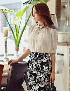 cheap Women's Skirts-Women's WorkWear Going out Party/Cocktail Above Knee Skirts, Vintage Street chic Pencil Bodycon Polyester Color Block Spring Summer