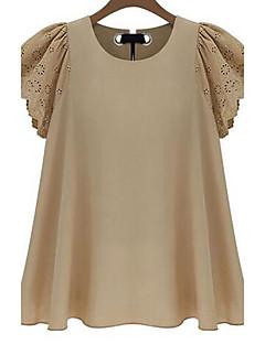 preiswerte Damen-Oberteile-Damen Solide Übergrössen T-shirt Baumwolle