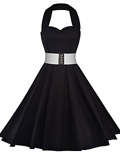 Women's Casual/Daily Vintage A Line Dress,Floral Color Block Halter Mini Sleeveless Cotton Polyester Spandex Summer Mid Rise Inelastic