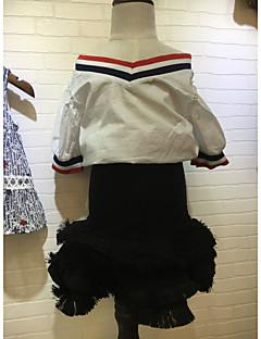 ieftine Haine de Fete-Fete Set Îmbrăcăminte Culoare solidă Bumbac Vară Fără manșon Alb