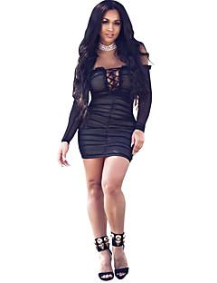 Moulante Robe Femme Soirée Sexy,Couleur Pleine Epaules Dénudées Mini Manches Longues Polyester Spandex Eté Taille Normale Elastique Fin