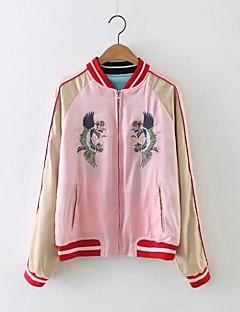 Damen Einfarbig Street Schick Lässig/Alltäglich Jacke,Ständer Frühling Herbst Lange Ärmel Standard Baumwolle Nylon Jacquard