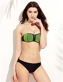 billige Moteundertøy-Dame Fargeblokk Bikinikjole Badetøy Solid Bandasje Sport Bandeau Oransje Grønn Rosa