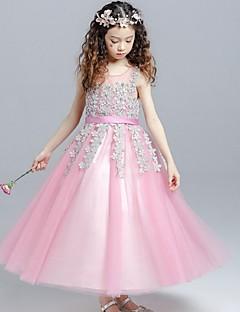 ボールガウン茶色の長さ花ガールのドレス - オーガンザ真珠とノースリーブの宝石ネックydnで