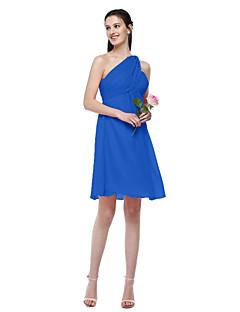 billige Romantisk rosa-A-linje Enskuldret Knelang Chiffon Brudepikekjole med Plissert av LAN TING BRIDE®